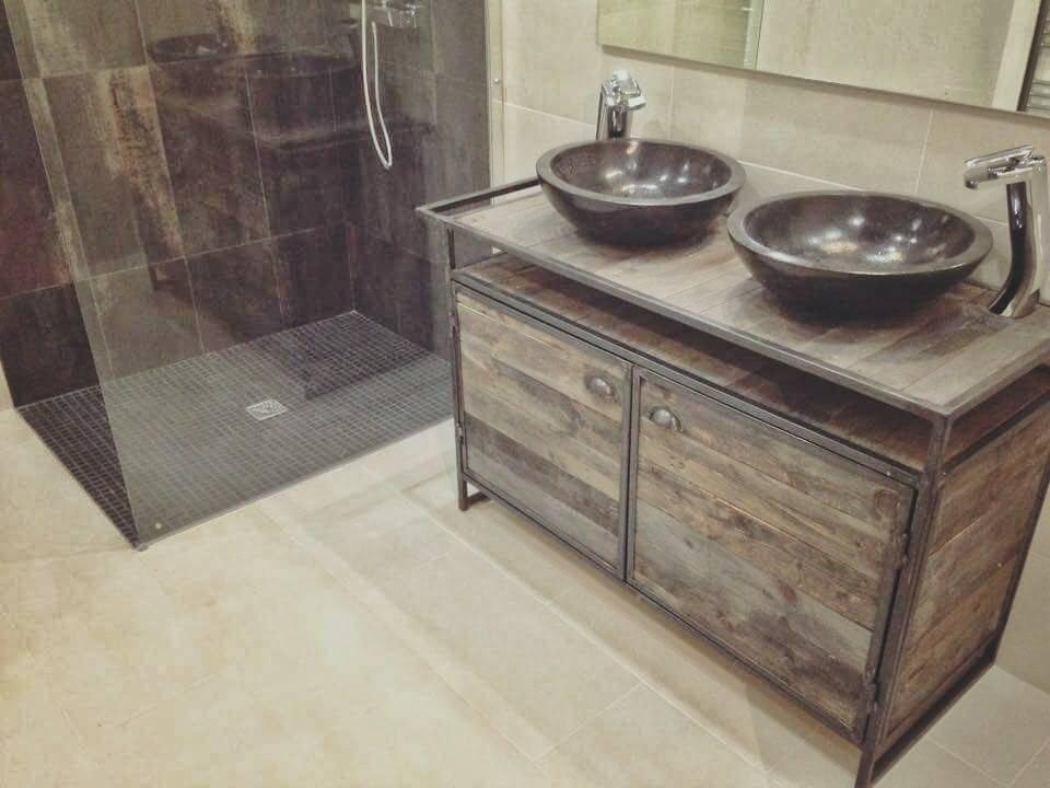 cr ation de meuble sous vasque en acier et bois sur mesure fabrication de mobilier bois et. Black Bedroom Furniture Sets. Home Design Ideas