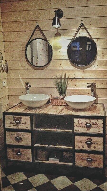 Création de meuble sous vasque en acier et Bois sur mesure ...