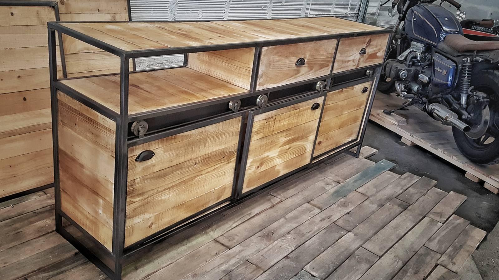 buffet bois metal porte coulissante. Black Bedroom Furniture Sets. Home Design Ideas